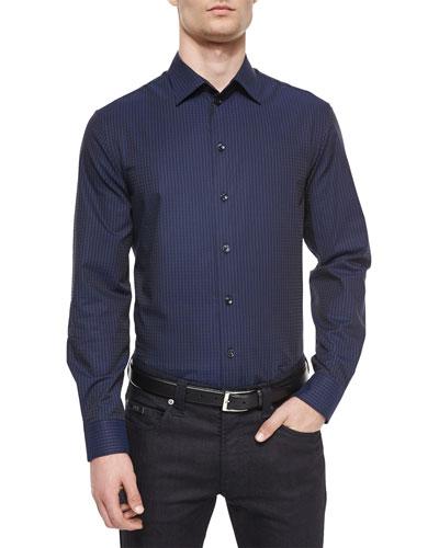 Tonal Plaid Woven Sport Shirt, Navy