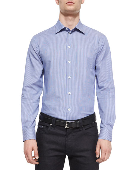 Armani Collezioni Striped Woven Sport Shirt, Blue