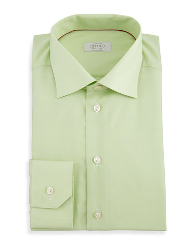 Contemporary-Fit Micro-Check Dress Shirt, Green