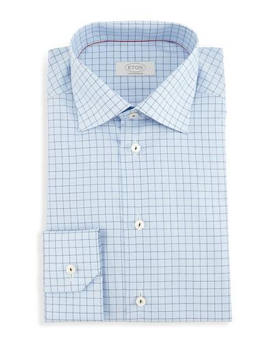 Contemporary-Fit Gingham-Windowpane Woven Dress Shirt, Light Blue