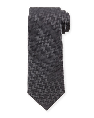 Herringbone Silk Tie, Gray