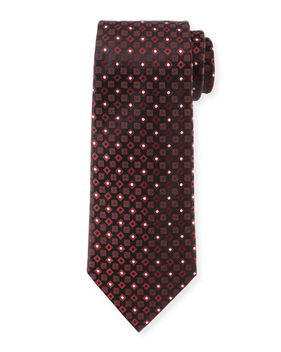 Square & Dot-Print Silk Tie, Copper