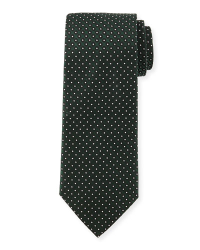 Textured Dot-Print Silk Tie, Green