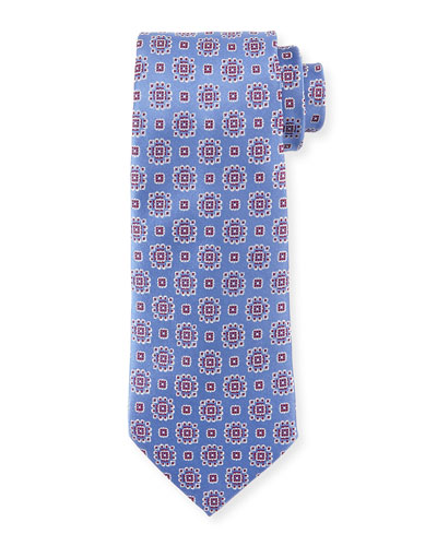 Textured Medallion-Print Silk Tie, Light Blue