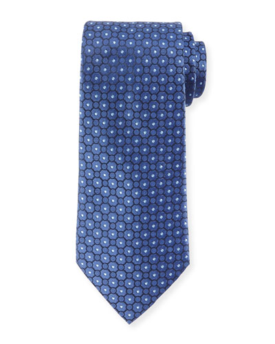 Small Medallion-Print Silk Tie, Blue