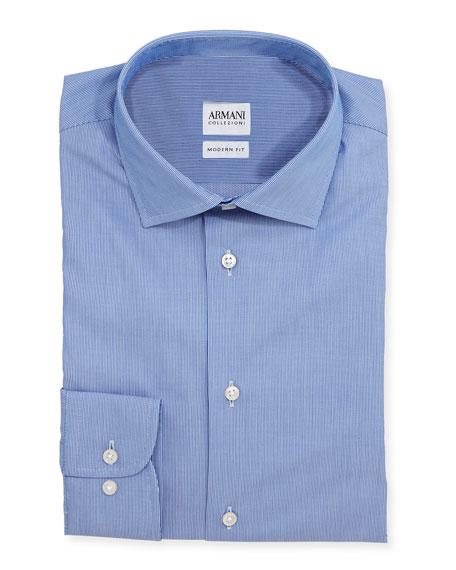 Armani collezioni modern fit textured tonal striped dress for Modern fit dress shirt