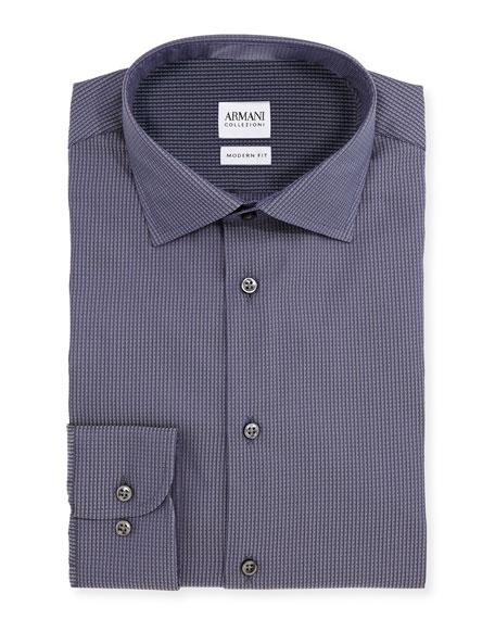Armani collezioni modern fit waffle woven dress shirt for Modern fit dress shirt