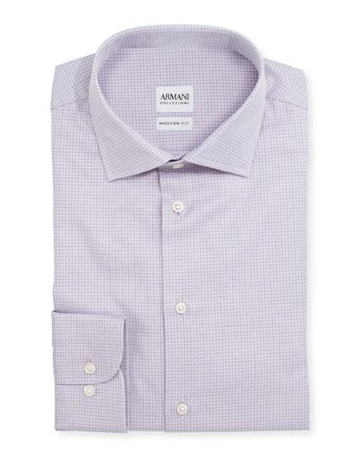 Modern Fit Graph-Check Dress Shirt, Lavender