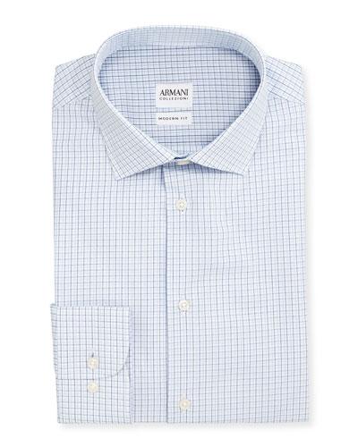 Modern Fit Shadow-Check Dress Shirt, White/Blue