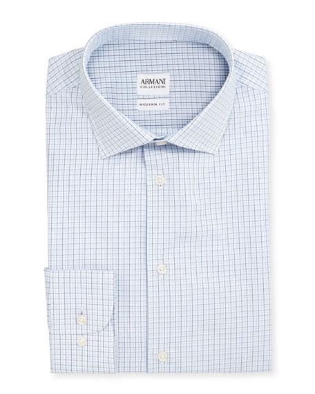 Armani Collezioni Modern Fit Shadow-Check Dress Shirt, White/Blue