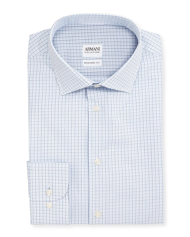 Dress Shadow Whiteblue Fit Modern Armani Check Collezioni Shirt nqTOxz8R