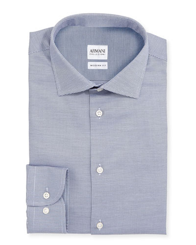 Modern Fit Textured Dress Shirt, Navy
