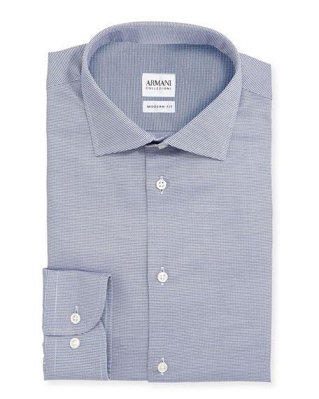 Armani Collezioni Modern Fit Textured Dress Shirt, Navy