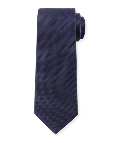 Textured Herringbone Silk Tie, Navy