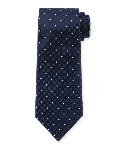 Square & Dot-Print Silk Tie, Navy