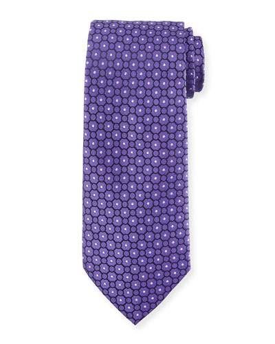 Small Medallion-Print Silk Tie, Purple