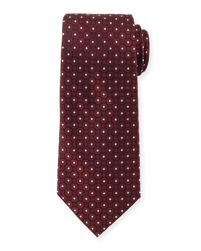 Small Medallion-Print Silk Tie, Wine