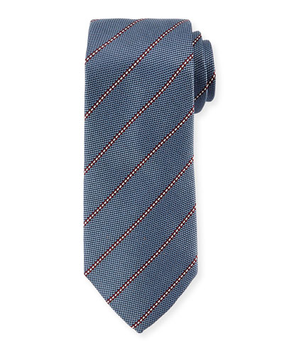Textured Stripe Silk Tie, Slate Blue