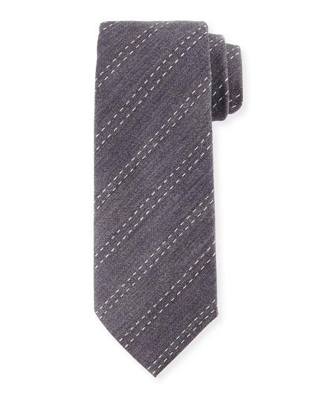 Stitched-Stripe Silk Tie, Gray