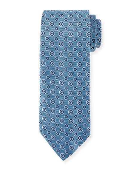 Circle-Medallion Silk Tie, Light Blue
