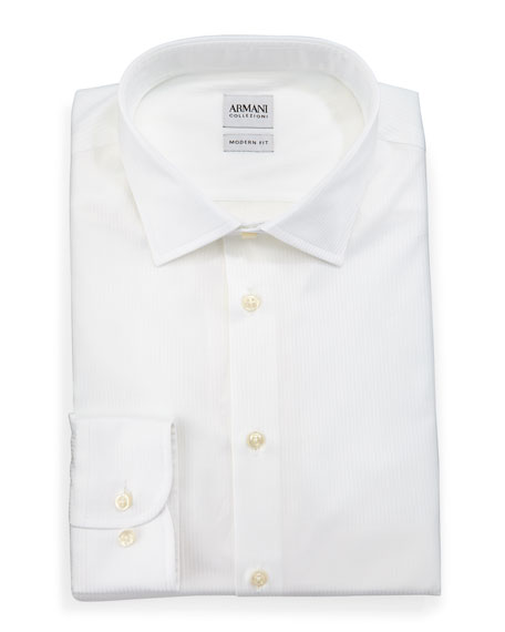 Armani Collezioni Modern Fit White-On-White Cord Dress Shirt