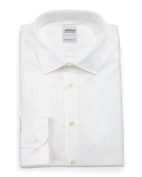 Armani Collezioni Modern Fit White-On-White Cord Dress Shirt