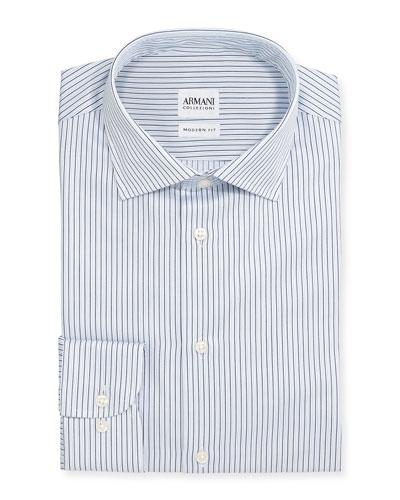 Modern-Fit Textured Stripe Dress Shirt, White/Blue