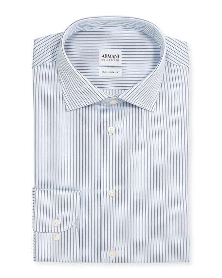 Armani Collezioni Modern-Fit Textured Stripe Dress Shirt, White/Blue