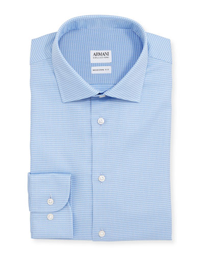 Modern-Fit Textured Dress Shirt, Light Blue