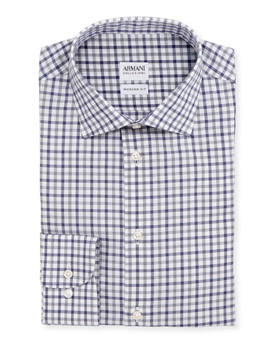 Modern Fit Bold-Check Dress Shirt, Gray