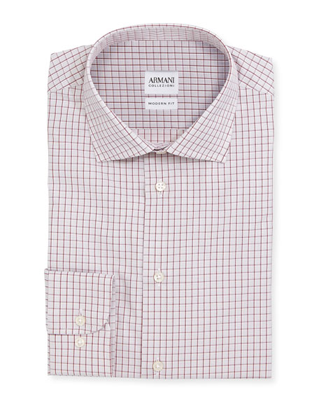 Armani CollezioniModern-Fit Box-Check Dress Shirt, White/Red