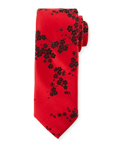 Cherry Blossom Silk Tie, Red