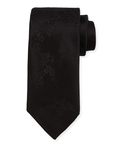 Cherry Blossom Silk Tie, Black