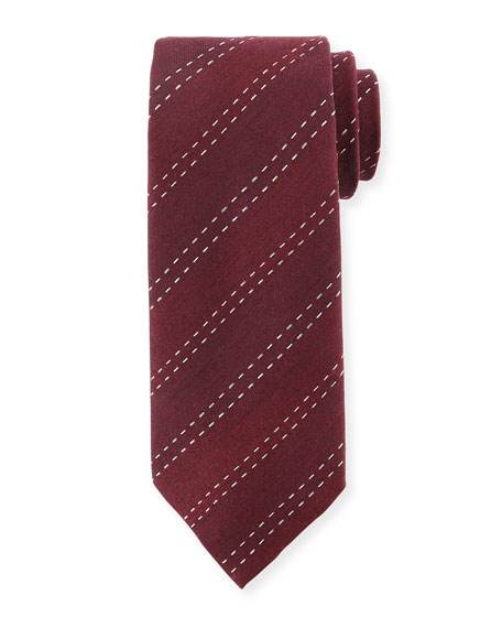 Stitched-Stripe Silk Tie, Burgundy
