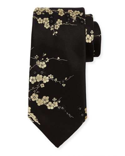 Cherry Blossom Silk Tie, Gold