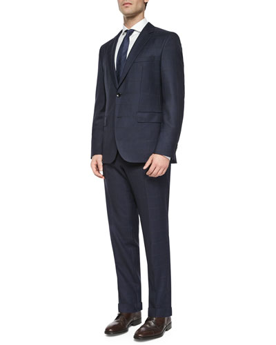 Windowpane Two-Piece Wool Suit, Navy/Gray