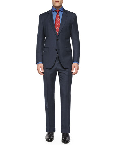 Solid Two-Piece Wool Suit, Bright Navy