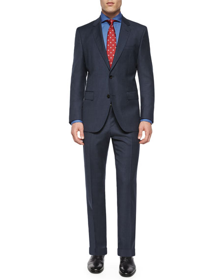 Boss Hugo BossSolid Two-Piece Wool Suit, Bright Navy