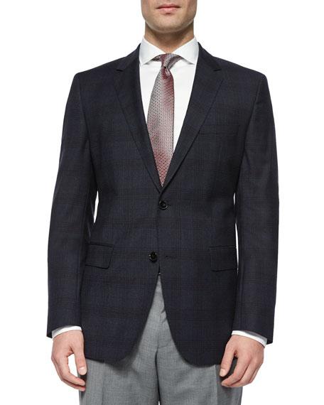 Boss Hugo Boss Plaid with Windowpane Two-Button Jacket, Navy