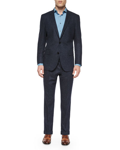 Donegal Two-Piece Wool Suit, Navy