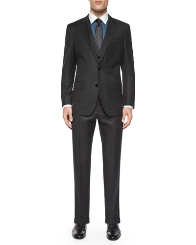 Birdseye Three-Piece Wool Suit, Gray