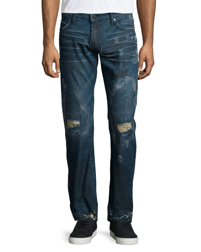 Paint-Splatter & Destroyed Denim Jeans, Navy