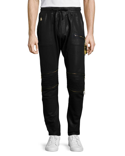 Coated Fleece Jogger Pants, Black