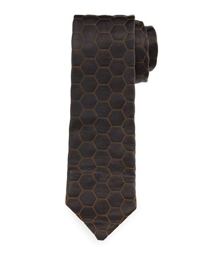 Geometric Embossed Leather Tie, Black