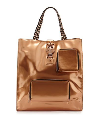 Men's Metallic Leather Tote Bag, Auburn