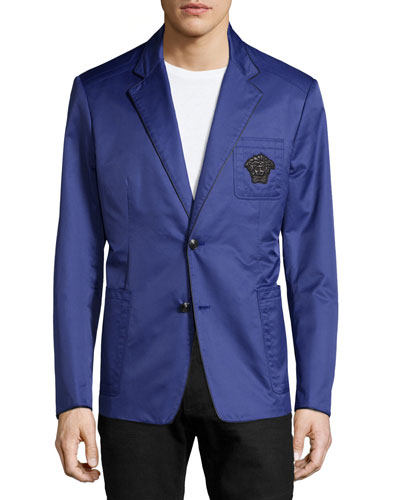 Long-Sleeve Double-Button Blazer, Blue