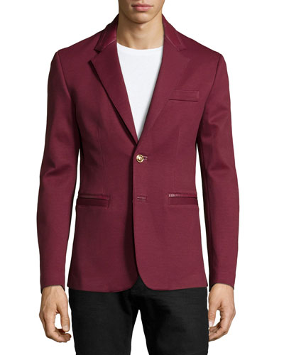 Long-Sleeve Two-Button Blazer, Red