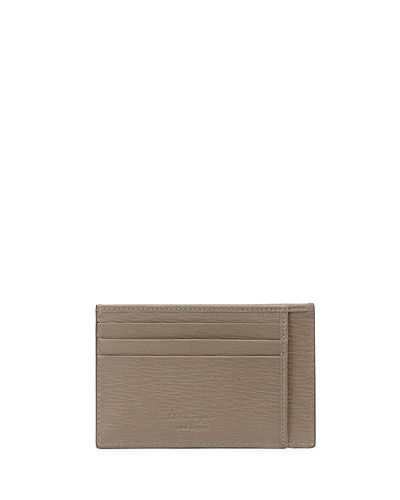 Flat Leather Card Case, Celtic Gray