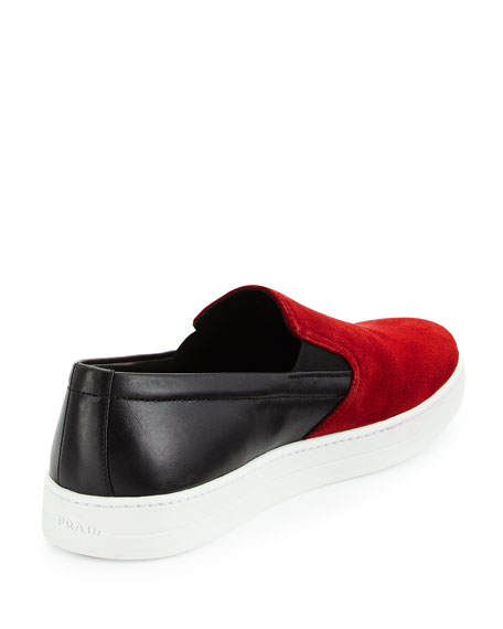Bicolor Suede & Leather Slip-On Sneaker, Red