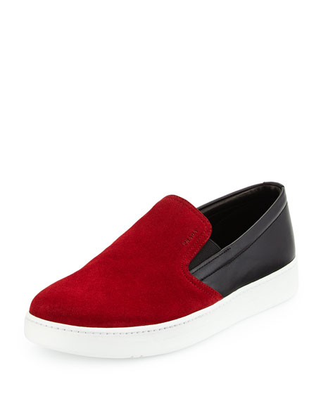 Prada Bicolor Suede & Leather Slip-On Sneaker, Red